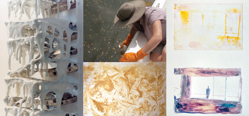 (Helena Trinidade, PABLO 1.6 NONWRITINGMACHINE, 2012; Lisa Moren, Marbelized paper form the Gulf of Mexico, 2010; Luiz Cavalheiros, Remembered Images, 2011 courtesy of the artists)