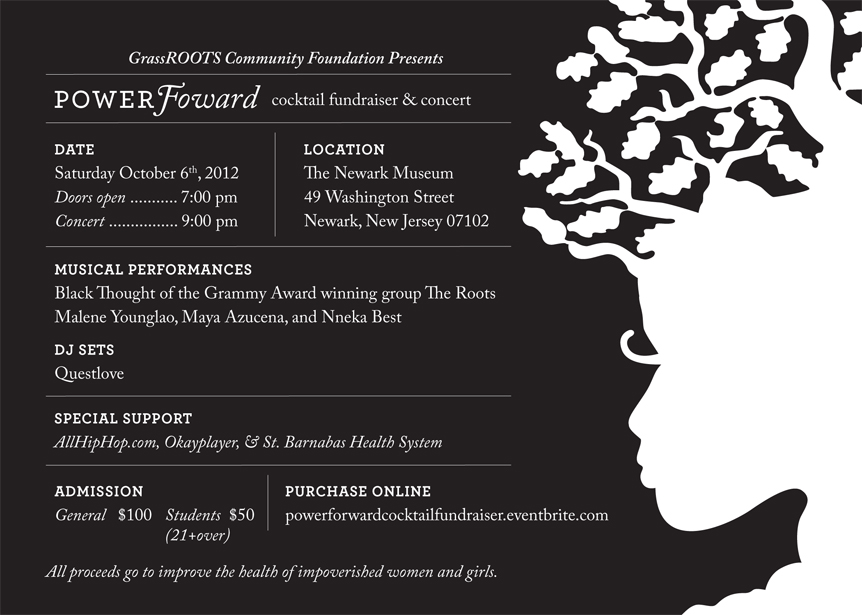 POWERForward cocktail fundraiser and concert flyer